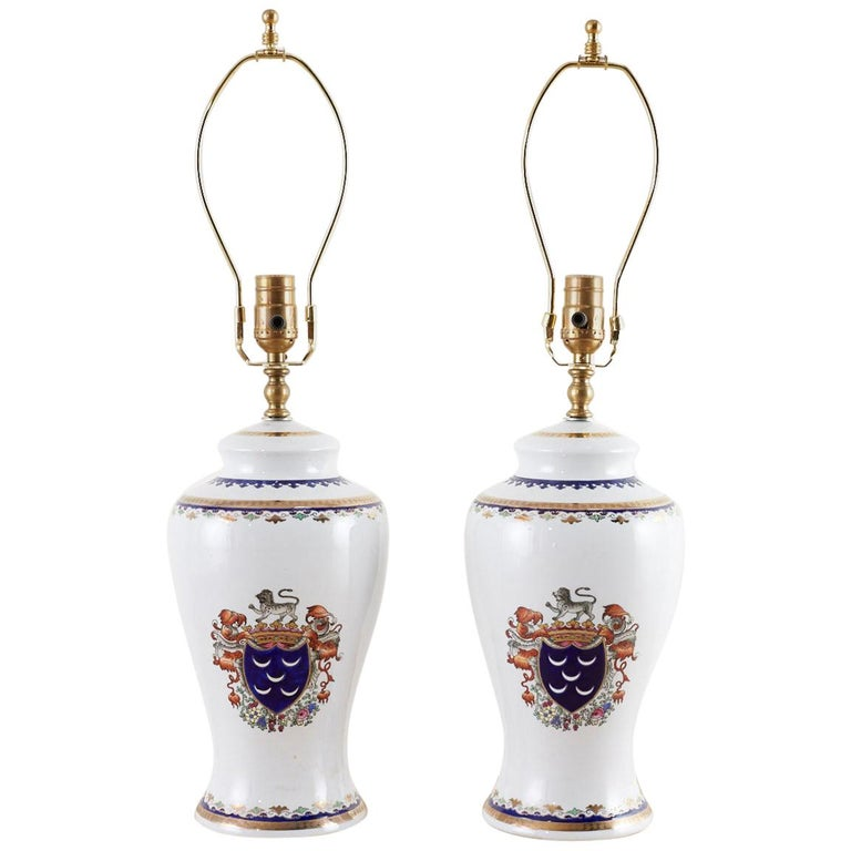 Royal Coat of Arms Porcelain Jar Table Lamps