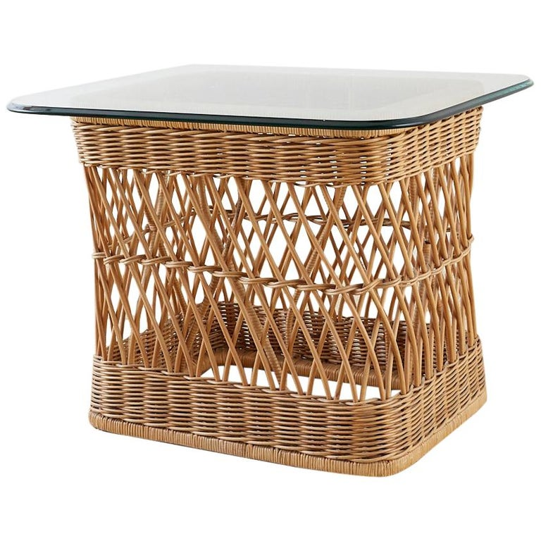 McGuire Rattan Wicker Coffee Cocktail Table