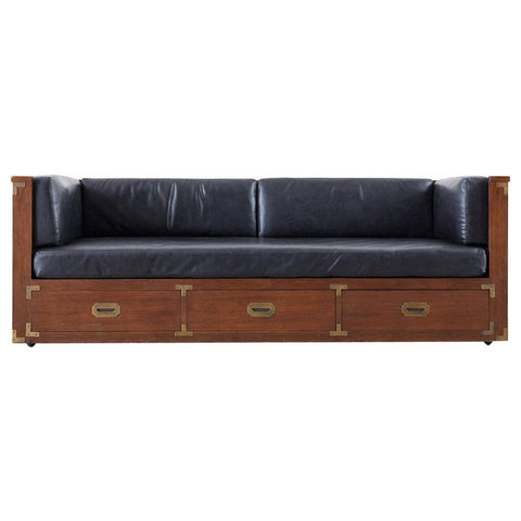 Midcentury Marge Carson Style Mahogany Campaign Daybed Sofa
