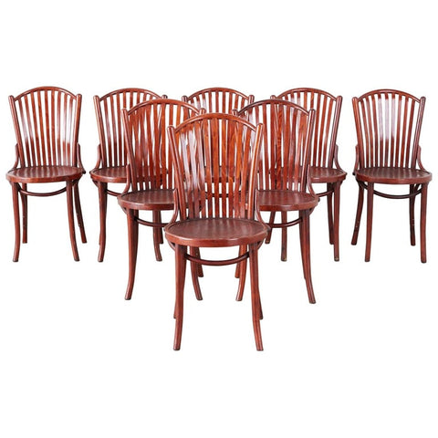 Set of Eight Thonet Style Bentwood Cafe Bistro Chairs