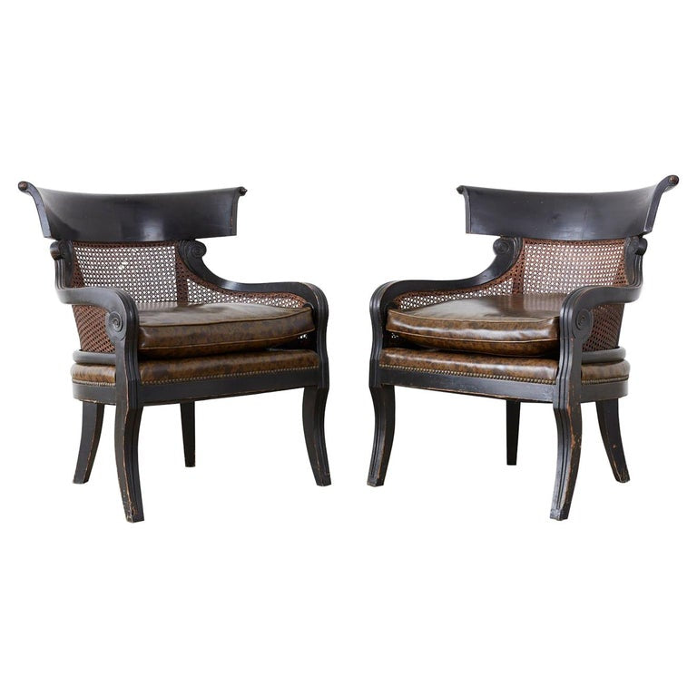 Pair of English Regency Style Ebonized Klismos Chairs