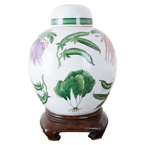 Chinese Export Porcelain Lidded Ginger Jar on Stand