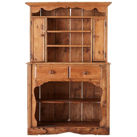 English Pine Cupboard Dresser with Rack