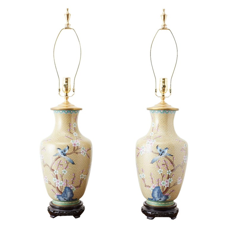 Chinese Cloisonne Floral Vases Mounted as Lamps