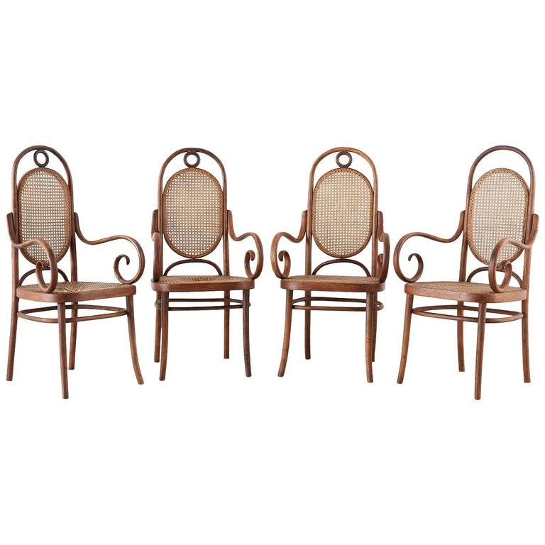 Thonet No. 17 Bentwood and Cane Armchairs