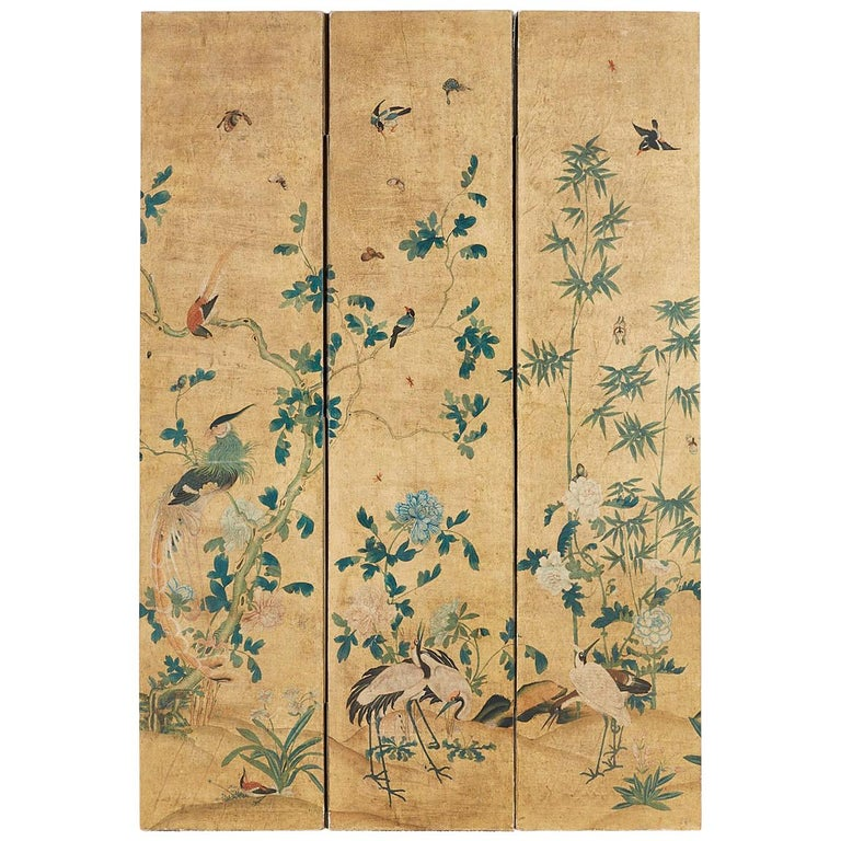 Continental Painted Chinoiserie Wallpaper Screen with Decoupage