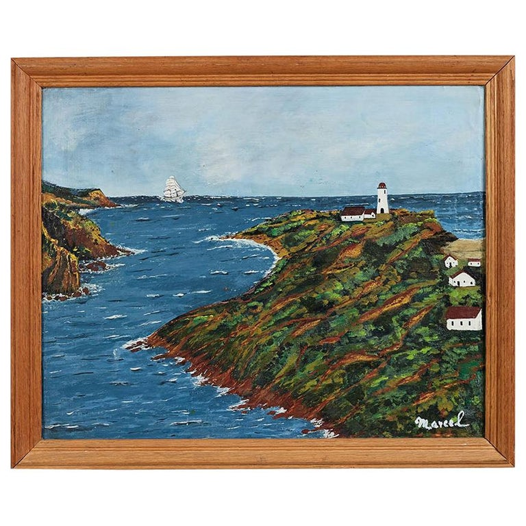 American Folk Art Cape Cod Painting of Lighthouse