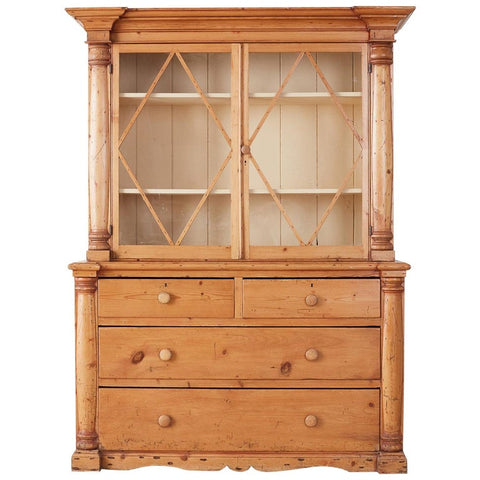 Country French Provincial Pine Buffet Deux Corps Cupboard