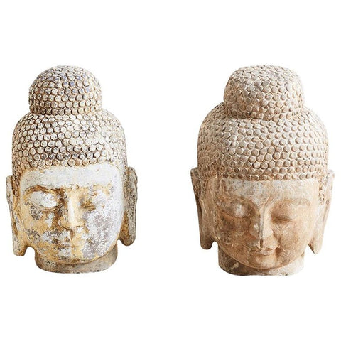 Pair of Carved Stone Burmese Buddha Heads