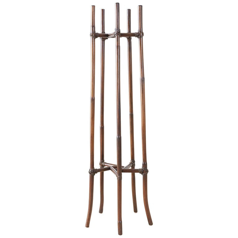 McGuire Organic Modern Bamboo Rattan Plant Stand