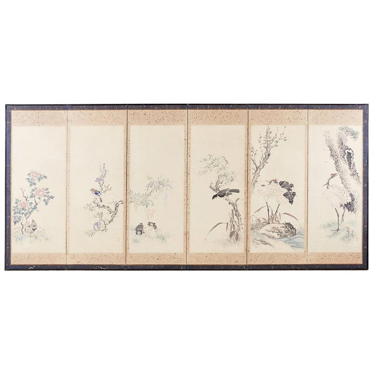 Japanese Six-Panel Meiji Screen of Flora and Fauna
