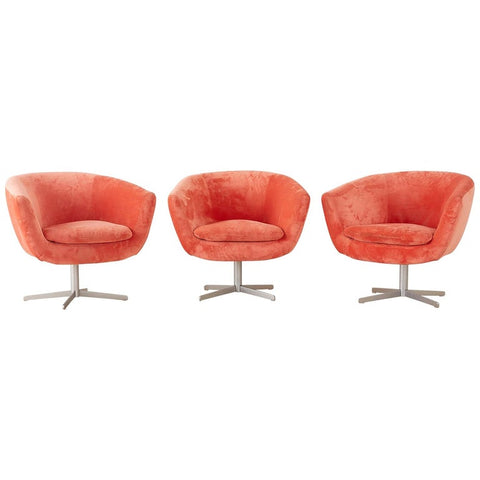 Set of Three Milo Baughman Style Swivel Lounge Chairs