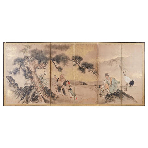 Japanese Six-Panel Edo Screen of Immortals with Children