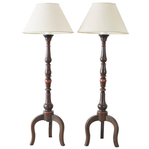 Pair of Spanish Colonial Style Wooden Candlestick Floor Lamps