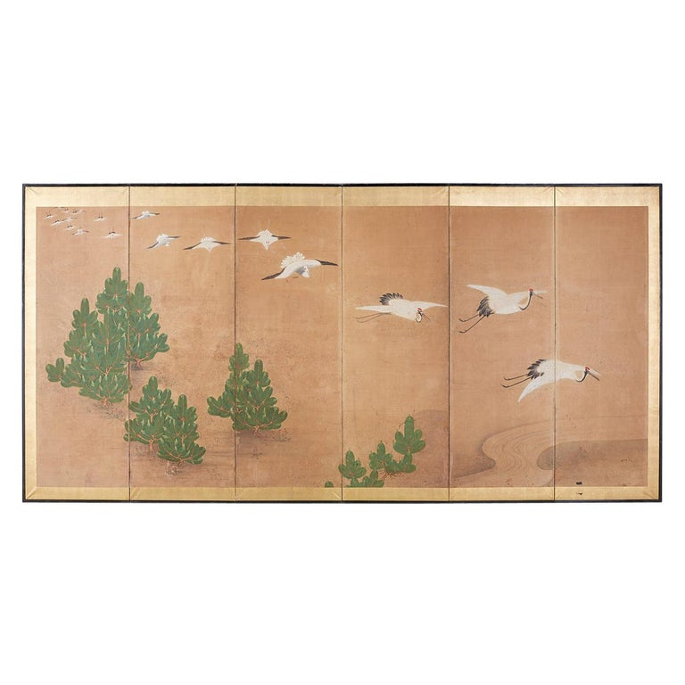 Japanese Six-Panel Screen of Cranes in Flight