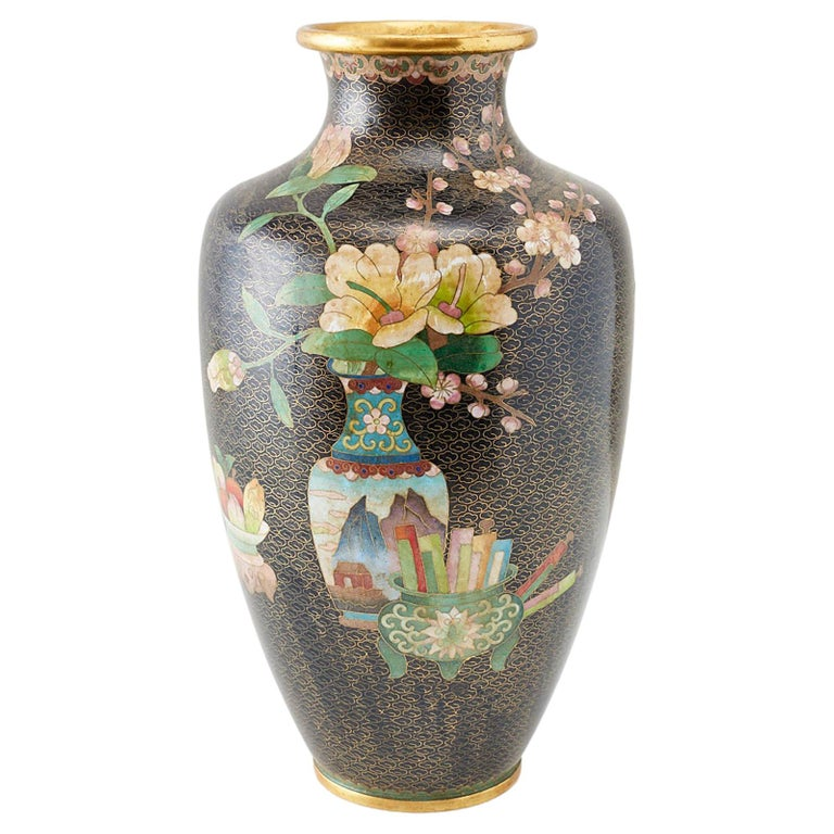 Large Chinese Cloisonné Vase with Floral Decoration