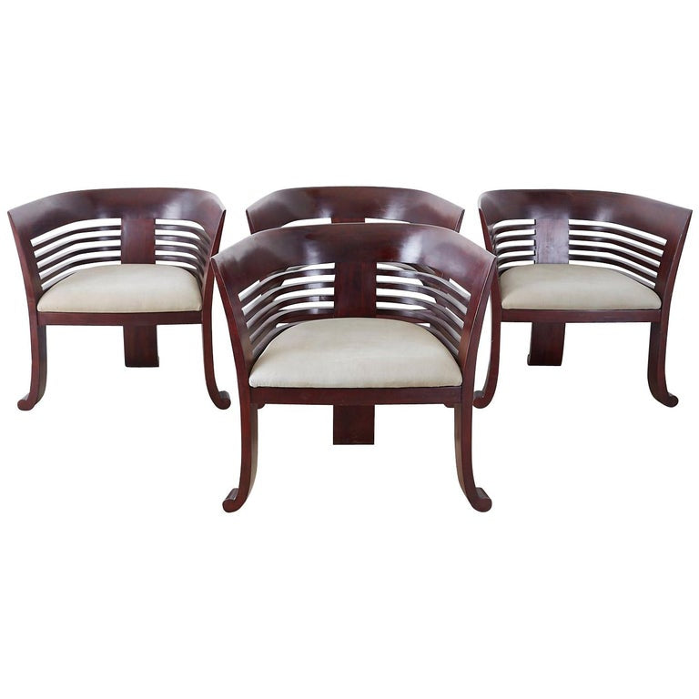 Set of Four Modern Mahogany Sculptural Tub Chairs