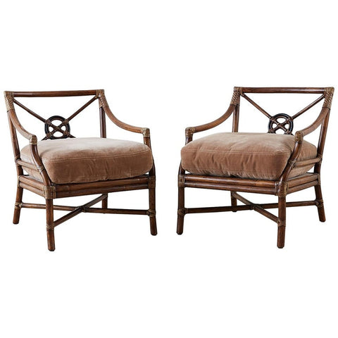 Pair of McGuire Bamboo Rattan Target Lounge Chairs