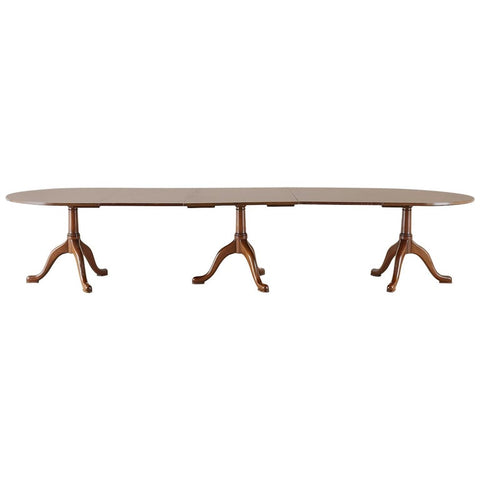 Georgian Style Triple Pedestal Mahogany Dining Banquet Table