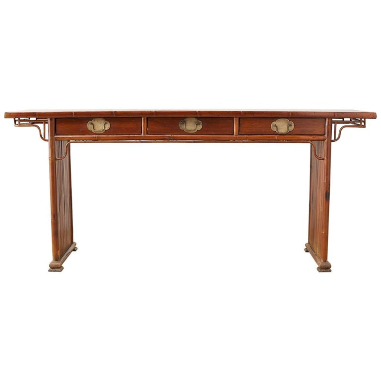 Chinese Bamboo Rattan Altar Table or Server Console Table