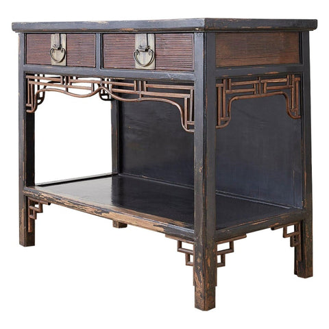 Chinese Export Two-Drawer Lacquered Console Table