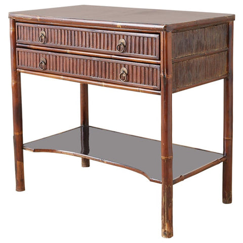 Organic Modern Bamboo Rattan Two-Drawer Table