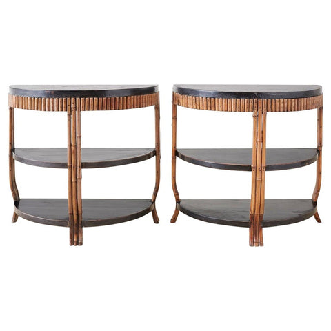 Pair of Modern Lacquered Three-Tier Bamboo Demilune Tables