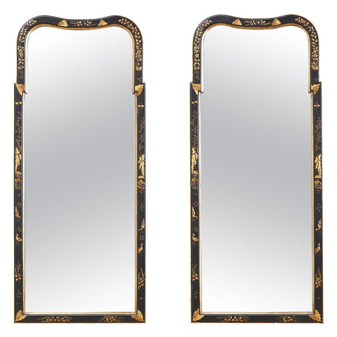 Pair of Chinoiserie Queen Anne Style Parcel-Gilt Mirrors