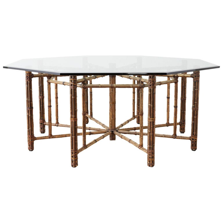 McGuire California Modern Octagonal Bamboo Rattan Dining Table