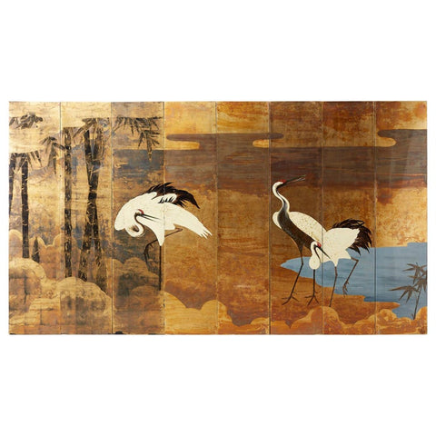 Contemporary Japanese Eight Panel Crane Landscape Screen