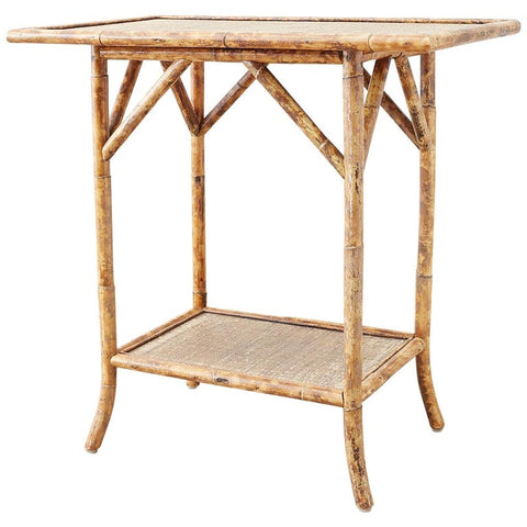 English Regency Style Tortoise Shell Bamboo Raffia Table