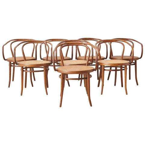 Set of Eight Thonet 209 Bentwood Cane Armchairs
