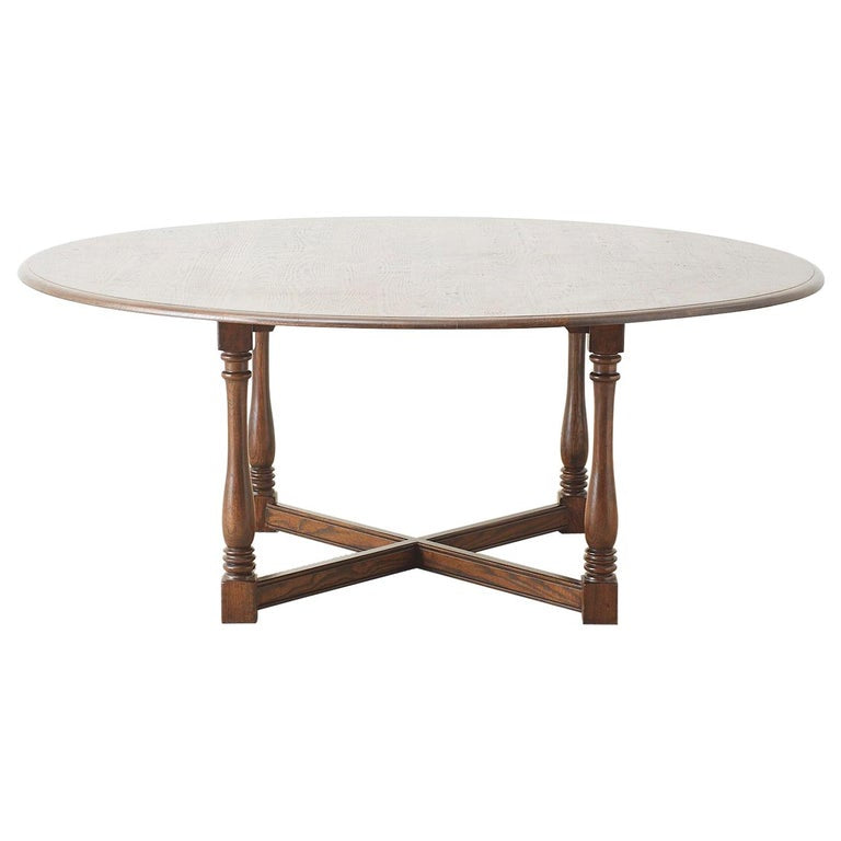 English Country Style Round Oak Dining Table