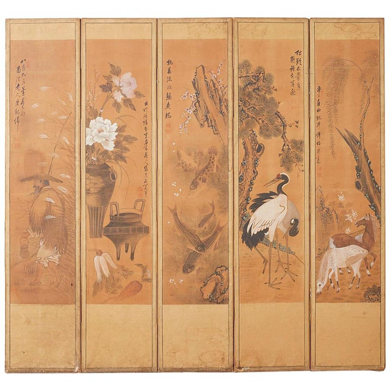 Japanese Korean Meiji Period Five-Panel Screen