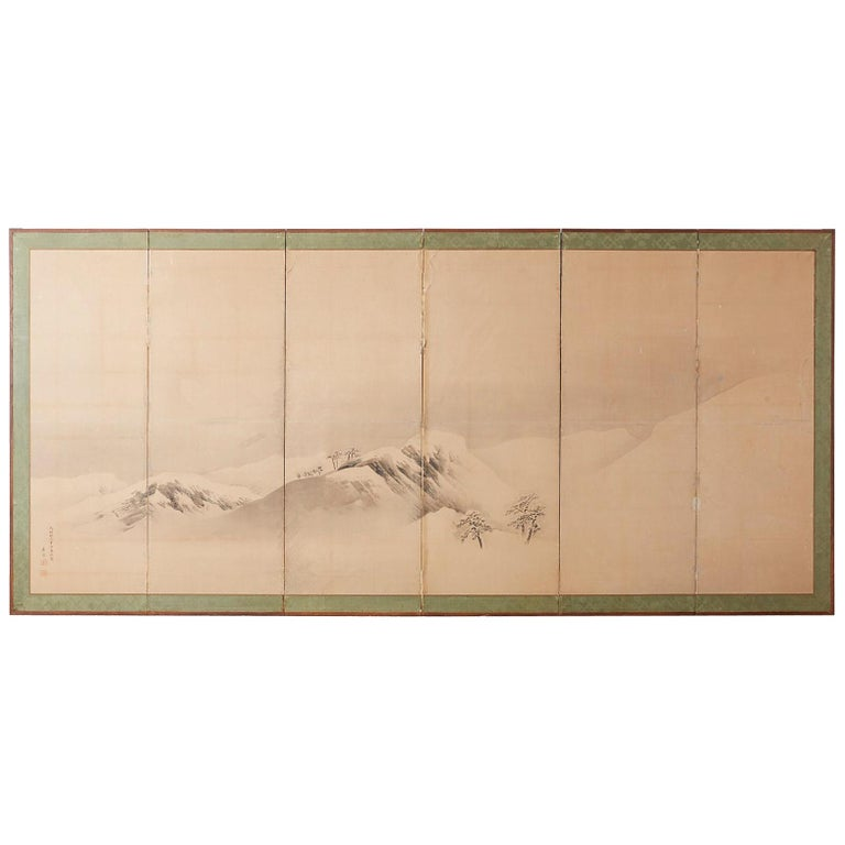 Japanese Six-Panel Screen Snowscape after Maruyama Okyo