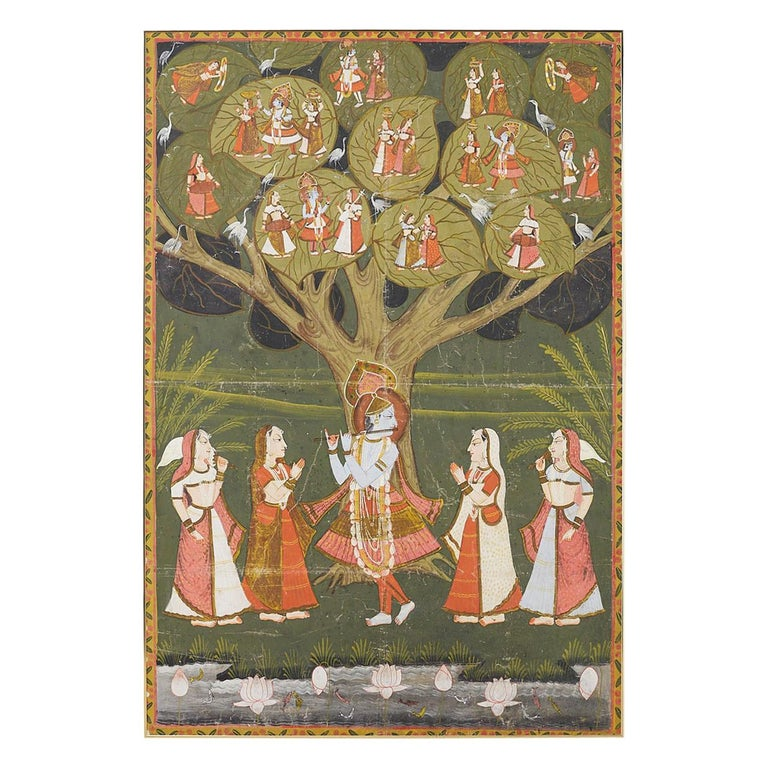 Pichhwai Hindu Painting of Krishna under Tree of Life