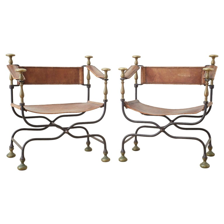 Pair of 19th Century Italian Iron Savonarola Dante Chairs