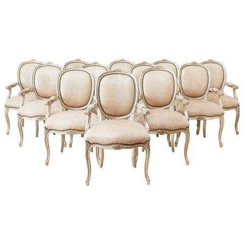Set of Twelve French Louis XV Style Silvered Dining Armchairs
