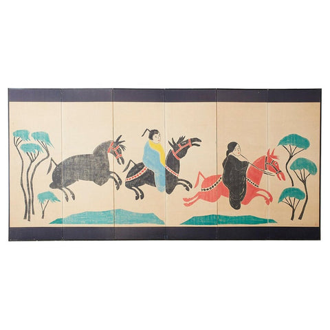 Louis Liang Chinese Six-Panel Woodblock Horse Screen