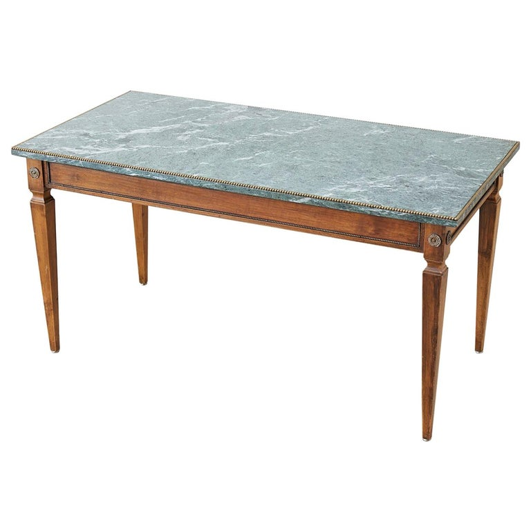 French Neoclassical Mahogany Marble-Top Cocktail Table