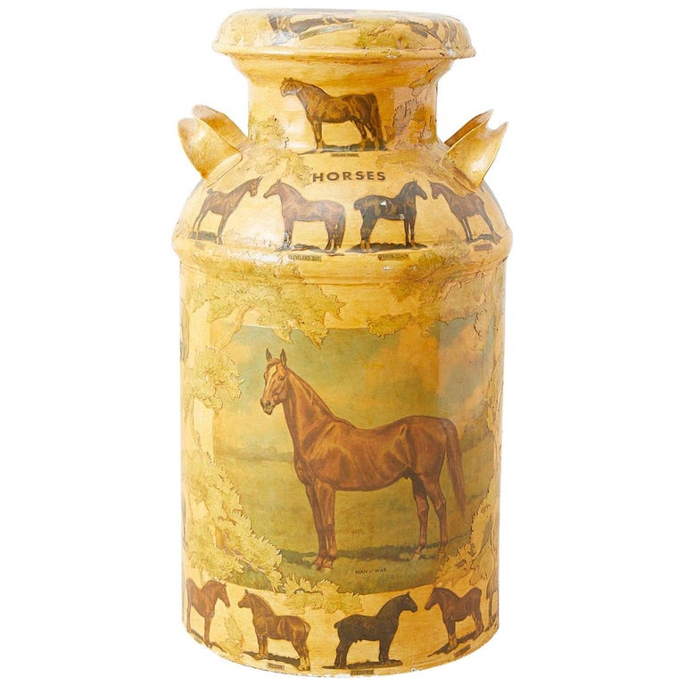 Equine Decoupage Decorated Dairy Farm Milk Jug
