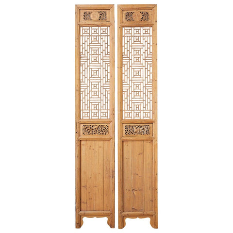 Pair of Chinese Carved Doors with Lattice Windows