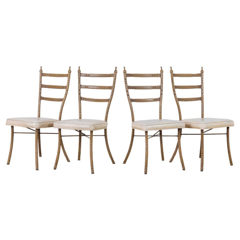 Set of Four Italian Midcentury Faux Bamboo Dining Chairs
