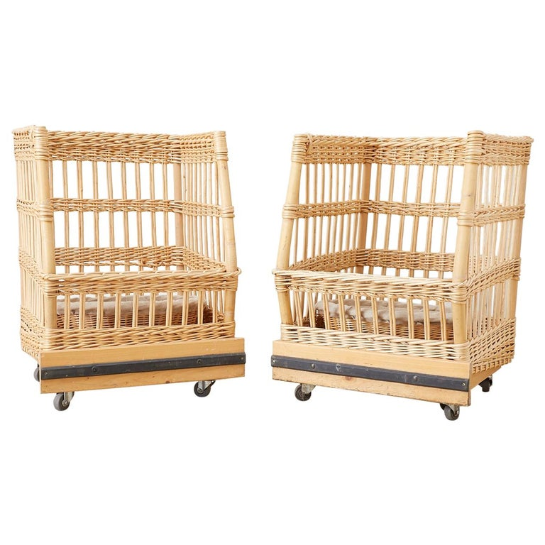 Pair of Wicker Rattan Boulangerie Bread Display Baskets