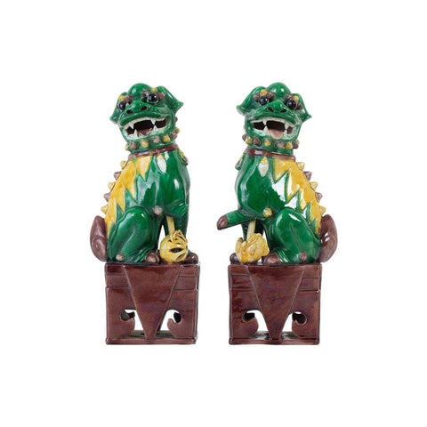 Pair of Chinese Famille Verte Foo Dogs on Stands