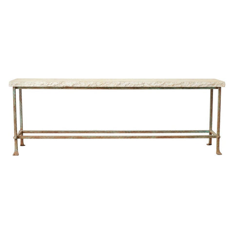 Monumental Stone and Iron Garden Console Table