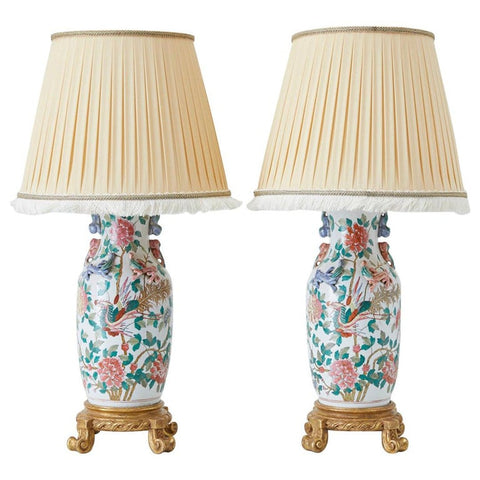 Pair of Chinese Famille Ginger Jars Mounted as Lamps