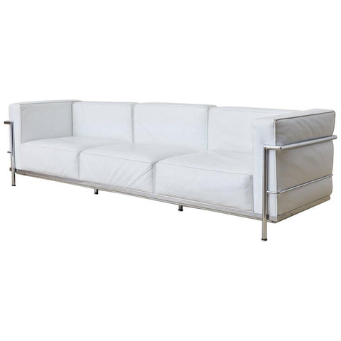 Le Corbusier LC3 Style White Leather and Chrome Sofa