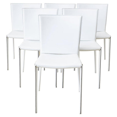 Set of Six Italian White Leather Wrapped Dining Chairs