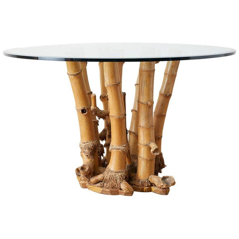 Organic Modern Bamboo Root Glass Top Dining Table